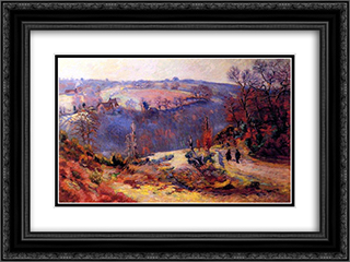 Pont-Charraud gelee blanche 24x18 Black or Gold Ornate Framed and Double Matted Art Print by Armand Guillaumin