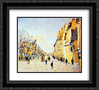Quai de Bercy, effets de neige 22x20 Black or Gold Ornate Framed and Double Matted Art Print by Armand Guillaumin