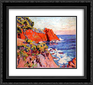 Rochers sur la Cote a Agay 22x20 Black or Gold Ornate Framed and Double Matted Art Print by Armand Guillaumin