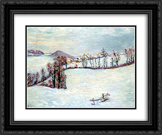 Saint-Sauves under the snow 24x20 Black or Gold Ornate Framed and Double Matted Art Print by Armand Guillaumin