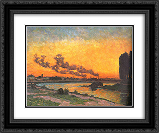 Sunset at Ivry (Soleil couchant a Ivry) 24x20 Black or Gold Ornate Framed and Double Matted Art Print by Armand Guillaumin