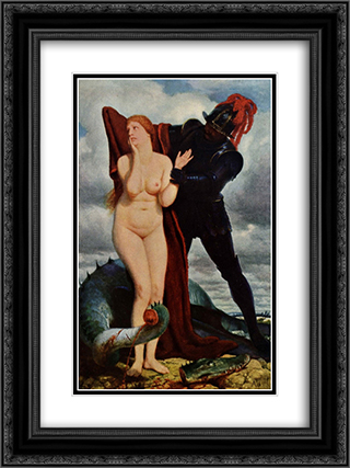 Angelika, guarded by a dragon 18x24 Black or Gold Ornate Framed and Double Matted Art Print by Arnold Bocklin