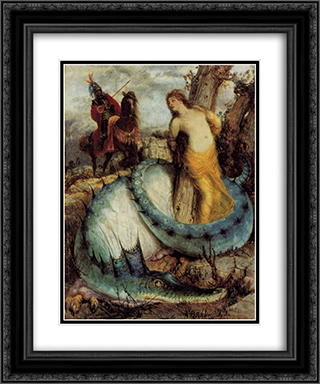 Angelika, guarded by a dragon (Angelica and Ruggiero) 20x24 Black or Gold Ornate Framed and Double Matted Art Print by Arnold Bocklin