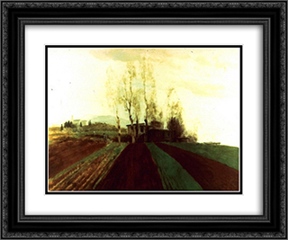 Arable land corridors in the early spring. 24x20 Black or Gold Ornate Framed and Double Matted Art Print by Arnold Bocklin