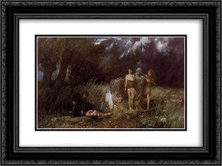 Assassin pursued by furies 24x18 Black or Gold Ornate Framed and Double Matted Art Print by Arnold Bocklin