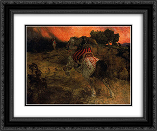 Astolf rides away with his head lost 24x20 Black or Gold Ornate Framed and Double Matted Art Print by Arnold Bocklin