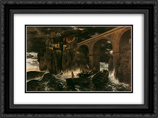 Attack by Pirates 24x18 Black or Gold Ornate Framed and Double Matted Art Print by Arnold Bocklin