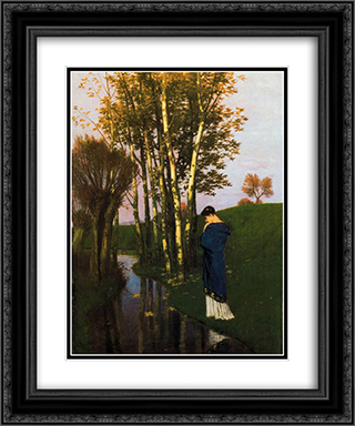 Autumn thoughts 20x24 Black or Gold Ornate Framed and Double Matted Art Print by Arnold Bocklin
