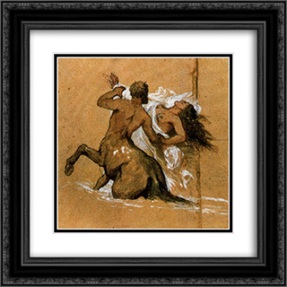Centaur and nymph 20x20 Black or Gold Ornate Framed and Double Matted Art Print by Arnold Bocklin