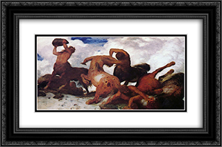 Centaurs 24x16 Black or Gold Ornate Framed and Double Matted Art Print by Arnold Bocklin