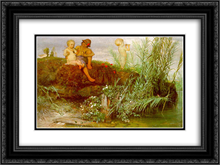Children carving may flutes 24x18 Black or Gold Ornate Framed and Double Matted Art Print by Arnold Bocklin