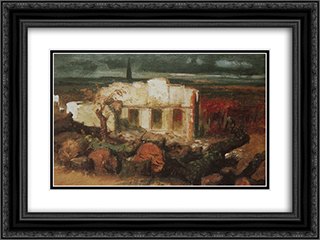 Destroyed house in Kehl 24x18 Black or Gold Ornate Framed and Double Matted Art Print by Arnold Bocklin