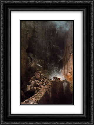 Dragon walking between rocks 18x24 Black or Gold Ornate Framed and Double Matted Art Print by Arnold Bocklin