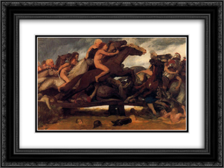 Fighting on a bridge 24x18 Black or Gold Ornate Framed and Double Matted Art Print by Arnold Bocklin