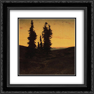 Fir trees at sunset 20x20 Black or Gold Ornate Framed and Double Matted Art Print by Arnold Bocklin