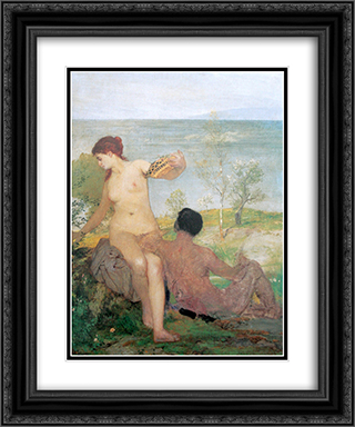 Girl and boy picking flowers 20x24 Black or Gold Ornate Framed and Double Matted Art Print by Arnold Bocklin