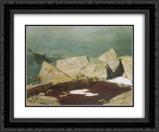 High mountains with chamoises 24x20 Black or Gold Ornate Framed and Double Matted Art Print by Arnold Bocklin