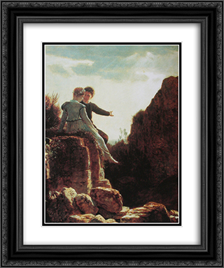Honeymoon 20x24 Black or Gold Ornate Framed and Double Matted Art Print by Arnold Bocklin