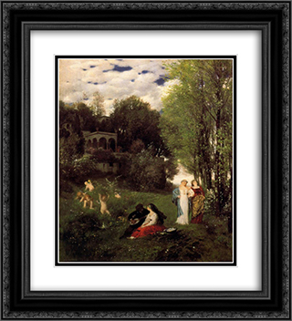 Ideal spring landscape 20x22 Black or Gold Ornate Framed and Double Matted Art Print by Arnold Bocklin