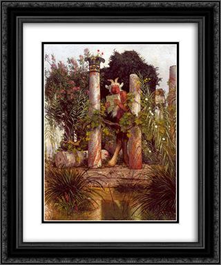 Idyll (Pan Amidst Columns) 20x24 Black or Gold Ornate Framed and Double Matted Art Print by Arnold Bocklin