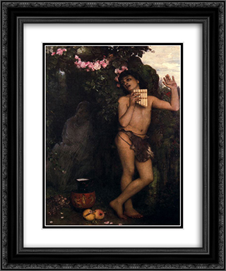 Lament of the shepherd 20x24 Black or Gold Ornate Framed and Double Matted Art Print by Arnold Bocklin