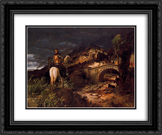 March of the Goths 24x20 Black or Gold Ornate Framed and Double Matted Art Print by Arnold Bocklin