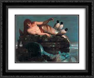 Meerestille (Calm Sea) 24x20 Black or Gold Ornate Framed and Double Matted Art Print by Arnold Bocklin