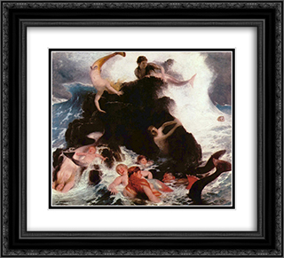 Mermaids at Play 22x20 Black or Gold Ornate Framed and Double Matted Art Print by Arnold Bocklin
