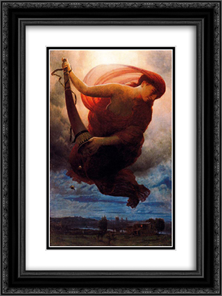 Night 18x24 Black or Gold Ornate Framed and Double Matted Art Print by Arnold Bocklin