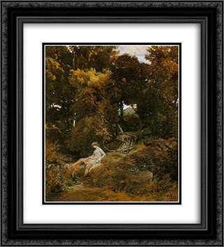 Nymph by the fountain 20x22 Black or Gold Ornate Framed and Double Matted Art Print by Arnold Bocklin