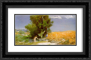 Nymphs bathing 24x16 Black or Gold Ornate Framed and Double Matted Art Print by Arnold Bocklin