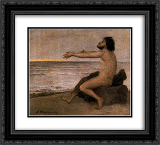 Odysseus by the sea 22x20 Black or Gold Ornate Framed and Double Matted Art Print by Arnold Bocklin
