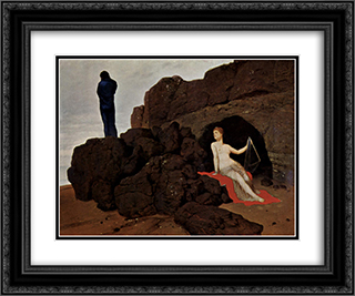 Odysseus und Kalypso 24x20 Black or Gold Ornate Framed and Double Matted Art Print by Arnold Bocklin