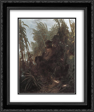 Pan among the reeds 20x24 Black or Gold Ornate Framed and Double Matted Art Print by Arnold Bocklin
