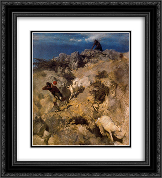 Pan frightening a shepherd 20x22 Black or Gold Ornate Framed and Double Matted Art Print by Arnold Bocklin