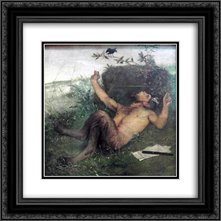 Pan whistling at a blackbird 20x20 Black or Gold Ornate Framed and Double Matted Art Print by Arnold Bocklin