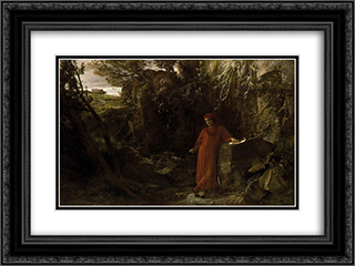 Petrarch by the fountain of Vaucluse 24x18 Black or Gold Ornate Framed and Double Matted Art Print by Arnold Bocklin