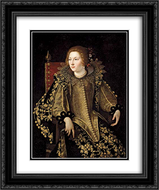 Dame assise de trois-quarts 20x24 Black or Gold Ornate Framed and Double Matted Art Print by Artemisia Gentileschi