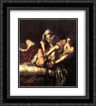 Judith Beheading Holofernes 20x22 Black or Gold Ornate Framed and Double Matted Art Print by Artemisia Gentileschi