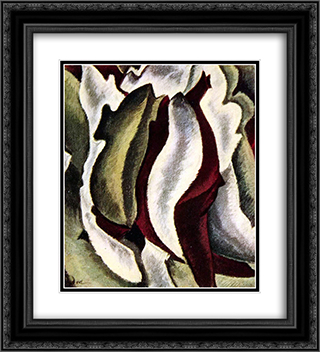 Based on Leaf Forms and Spaces 20x22 Black or Gold Ornate Framed and Double Matted Art Print by Arthur Dove