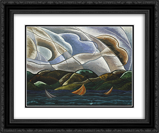 Clouds and Water 24x20 Black or Gold Ornate Framed and Double Matted Art Print by Arthur Dove