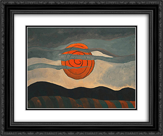 Red Sun 24x20 Black or Gold Ornate Framed and Double Matted Art Print by Arthur Dove