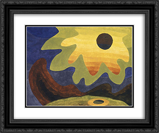 Sun 24x20 Black or Gold Ornate Framed and Double Matted Art Print by Arthur Dove