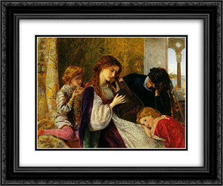 A Music Party 24x20 Black or Gold Ornate Framed and Double Matted Art Print by Arthur Hughes