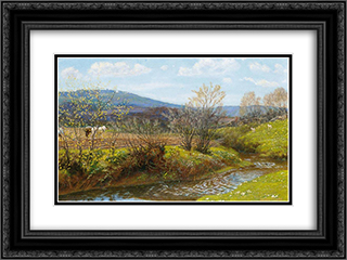 A Spring Afternoon 24x18 Black or Gold Ornate Framed and Double Matted Art Print by Arthur Hughes