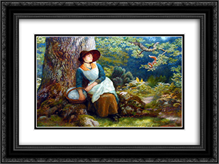 Asleep in the Woods 24x18 Black or Gold Ornate Framed and Double Matted Art Print by Arthur Hughes