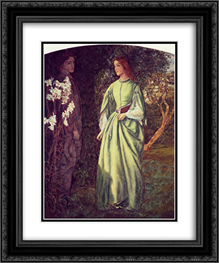 Aurora Leigh's Dismissal of Romney - (The Tryst) 20x24 Black or Gold Ornate Framed and Double Matted Art Print by Arthur Hughes