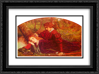Enid and Geraint 24x18 Black or Gold Ornate Framed and Double Matted Art Print by Arthur Hughes
