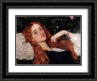 In the Grass 24x20 Black or Gold Ornate Framed and Double Matted Art Print by Arthur Hughes
