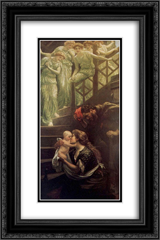 Little one who straight has come Down the Heavenly Stairs 16x24 Black or Gold Ornate Framed and Double Matted Art Print by Arthur Hughes